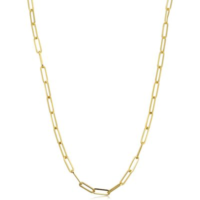 14k Yellow Gold 3mm Polished Paperclip Chain Necklace (18 inch)