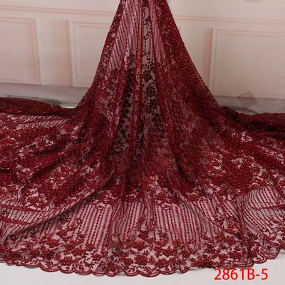 2019 Wine African Lace Fabric Embroidery Lace Fabric High Quality Handmade Beads Lace For African Bridal Lace Fabric YA2861B-5