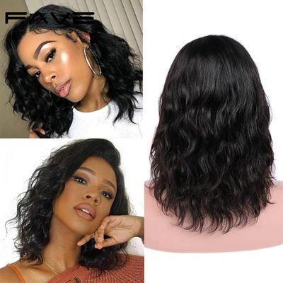 FAVE Natural Wave Lace Front Human Hair Wigs Brazilian Remy Hair Shoulder-length Wigs Pre-Plucked Lace Part Wigs for Black Women