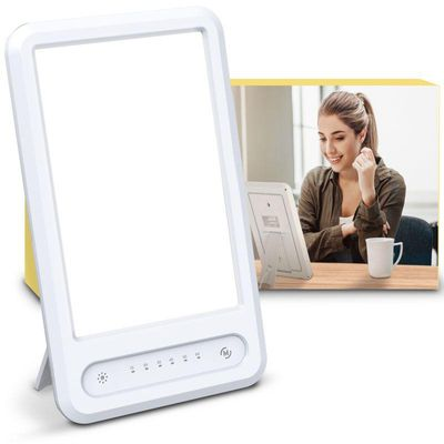 Techgomade Light Therapy Lamp Ultra-Thin 15000 Lux with Adjustable Brightness Levels(3000K/4500K/6000K), Therapy Light with 30 Minutes Timer and Rotatable Stand for a Happy Home/Office/Travelling