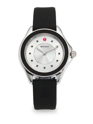 Michele Cape Black Topaz, Stainless Steel and Silicone Strap Watch