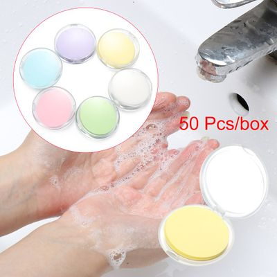 50pcs Disposable Boxed Soap Paper Travel Portable Hand Washing Scented Slice Sheet Mini Soap Outdoor Clean Tools For Adults Kids