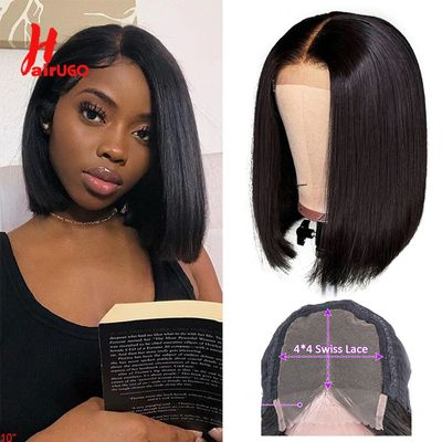HairUGo 4x4 Lace Closure Bob Wig Pixie Cut Bob Closure Human Hair Wigs Pre Plucked Brazilian Remy Wigs For Black Women 150%180%