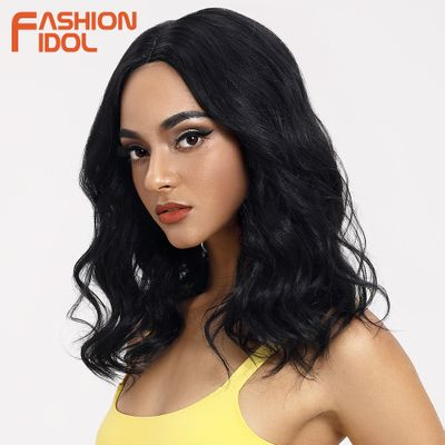 FASHION IDOL Loose Hair Synthetic Wigs For Black Women Deep Wave Wig 18 inch Heat Resistant Cosplay Wigs Synthetic Lace Wig Hair