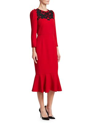 Dolce & Gabbana Lace Detail Flutter Hem Dress