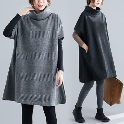 Autumn Winter Women's Short Sleeve Knitting Pullover Tops Sweater Dress Loose Turtleneck Dresses