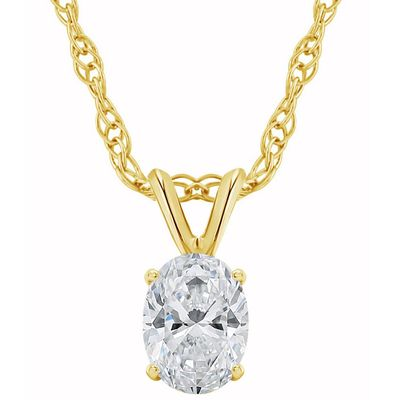 1/3Ct Certified Lab Grown Oval Diamond Solitaire Pendant Yellow Gold Necklace