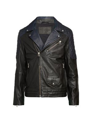 French Connection Colorblock Leather Moto Jacket