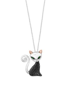 Effy Sterling Silver and Black Diamond Pendant Necklace