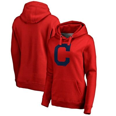 Cleveland Indians Women's Secondary Color Primary Logo Pullover Hoodie - Red