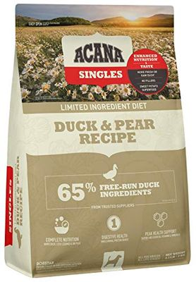 Acana Singles Limited Ingredient Dry Dog Food, Grain Free, High Protein, Duck & Pear, 4.5lb