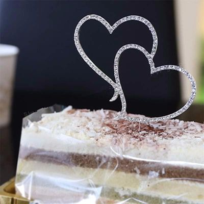New Romantic Crystal Rhinestone-studded Silver Double Heart Cake Topper Wedding Decoration