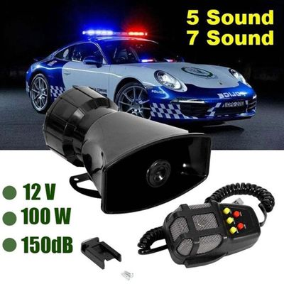 HiMISS 7-Sound Loud Car Warning Alarm Police Fire Siren Air bugle PA Speaker 12V 100W