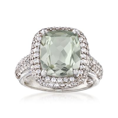 Ross-Simons Green Prasiolite and White Sapphire Ring in Sterling Silver
