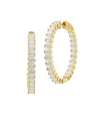 Saks Fifth Avenue JanKuo Jewelry Crystal Hoop Earrings
