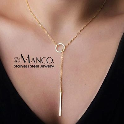 eManco Aesthetic Stainless Steel Necklaces for women Korean Pendant Gold Choker Necklace for Woman  Fashion Jewelry