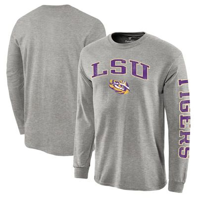 LSU Tigers Fanatics Branded Distressed Arch Over Logo Long Sleeve Hit T-Shirt - Gray
