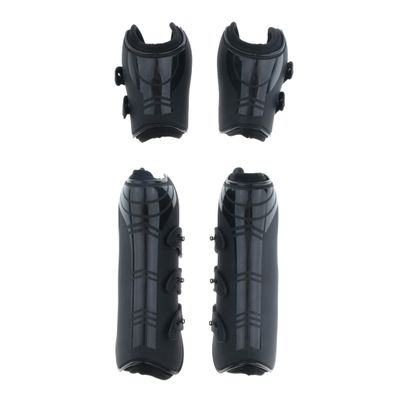 4 Pack Open Front Jumping Horse Boots, Fetlock and Tendon Leg Wrap Protective Gear, Black