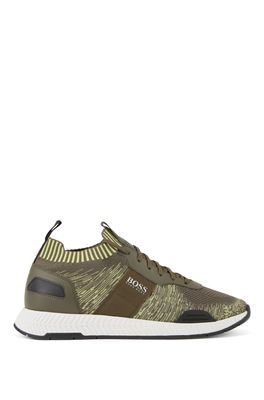 HUGO BOSS - Running Style Sneakers In Mixed Materials With Knitted Sock