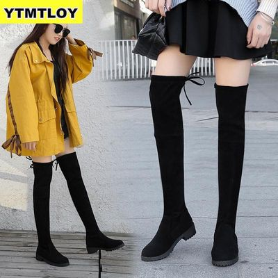 HOT Women's Boots Autumn And Winter New Over The Knee Sleek Minimalist Comfort Plus Cotton Flat Flock  Thigh High Boots