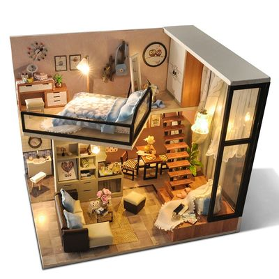 Cutebee DIY House Wooden Doll Houses Miniature Dollhouse Furniture Kit with LED Toys for children Christmas Gift TD16