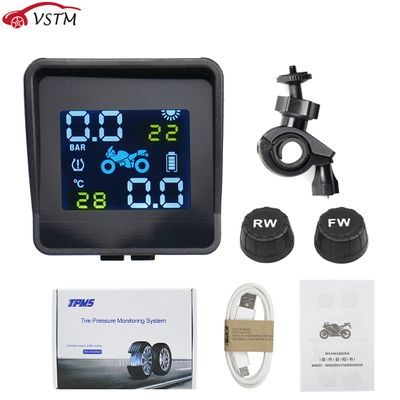 USB Solar Charging Motorcycle TPMS Motor Tire Pressure Tyre Temperature Monitoring Alarm System with 2 External Sensors
