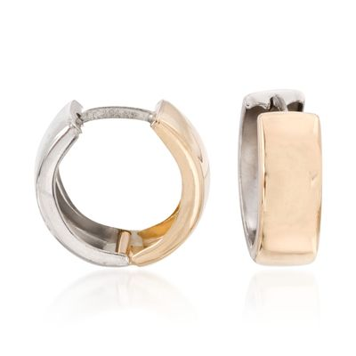 Ross-Simons 14kt 2-Tone Gold Reversible Huggie Hoop Earrings