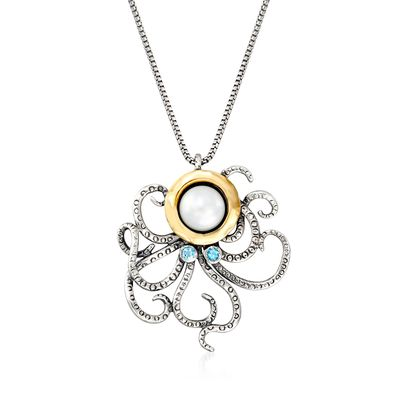 Ross-Simons 8.5-9mm Cultured Pearl and . Sky Blue Topaz Octopus Necklace in Sterling Silver and 14kt Yellow Gold