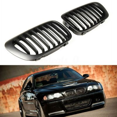 Car Black Kidney Sport Grilles Grill Grill Kidney Double Slat Matte Black for BMW E46 Coupe 2-Door 1999-2002 Replacement