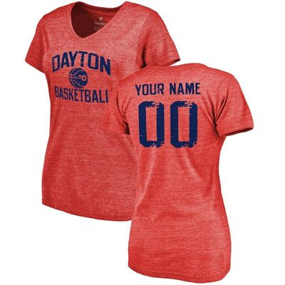 Dayton Flyers Women's Personalized Distressed Basketball Tri-Blend V-Neck T-Shirt - Red