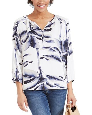 NIC+ZOE Botanical Leaf Blouse