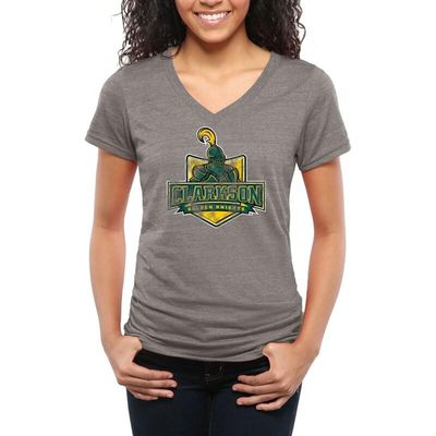 Clarkson Golden Knights Women's Classic Primary Tri-Blend V-Neck T-Shirt - Gray