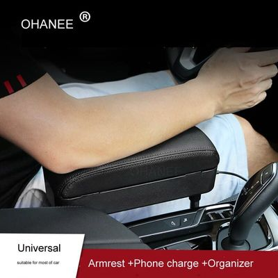 OHANEE Adjustable Car Armrest Pad Refit Car Central Lift Armrest with Storage Box Organizer and USB Charge Auto Accessories