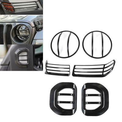 For Jeep Wrangler JL 2018+ Light Guard Covers For 9 inch Front Headlights Cover Front Turn signal Covers Side Mirror Light Trim
