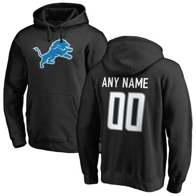 Detroit Lions Pro Line Any Name & Number Logo Personalized Pullover Hoodie - Black