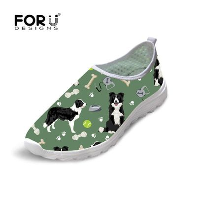 FORUDESIGNS Border Collie Printing Women Casual Loafers Breathable Flat Shoes Woman Slip on Casual Shoes 2019 New Zapatillas