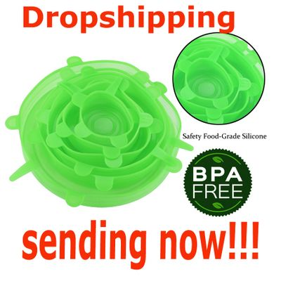 Dropshipping 6pcs/set Silicone Lids Durable Reusable Food Save Cover Heat Resisting Fits All Sizes and Shapes of Containers