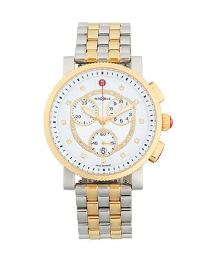 Michele Logo Diamond Stainless Steel Bracelet Watch