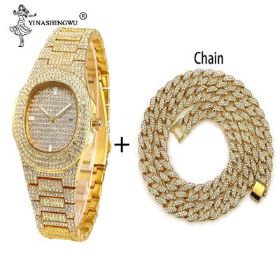 Hip Hop Men Women Gold Color Chain/Necklace+Watch Miami Curb Cuban Chain Gold Iced Out Paved Rhinestones CZ Bling Jewelry