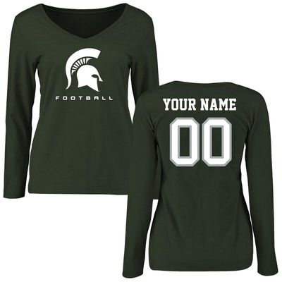 Michigan State Spartans Women's Personalized Football Long Sleeve T-Shirt - Green