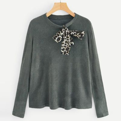 2019 New Fashion Women's Leopard Bow Sweater Thick Needle Long Sleeve O-Neck Pullover Sweater