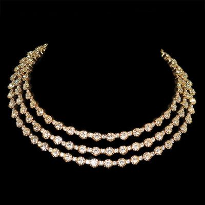 NEW Gold Silver Plated Metal Rhinestone Collar Necklaces for Women Round collar mujer collares Fashion Jewelry Choker
