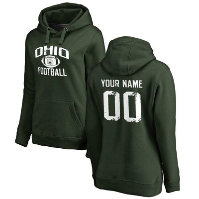 Ohio Bobcats Women's Personalized Distressed Football Pullover Hoodie - Green