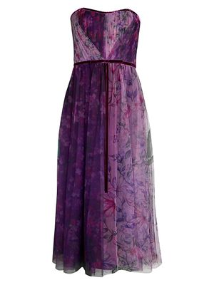 Marchesa Notte Floral Pleated Strapless Dress