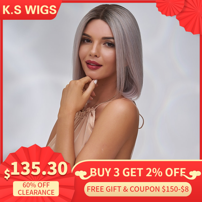 K.S WIGS 12'' Short Bob Half Lace Wigs 150% Denisty Straight Pre-Plucked Natural Hairline Remy Hair Wigs For Women