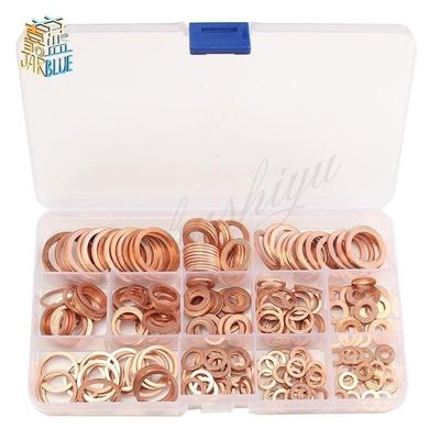 50Pcs/120Pcs /200Pcs /280PcsDIN7603 M5 M6 M8 M10 M12 M14 T3 Copper Sealing Washer For Boat Crush Washer Flat Seal Ring Fitting