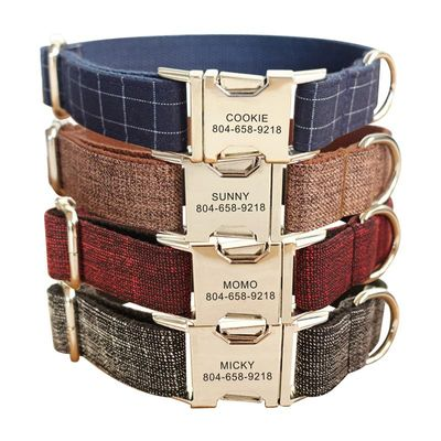 Personalized Pet Collar Plaid Suit Faber Custom Name ID Tag Adjustable Collars Lead Leash Set Free Engraving Dog Collars