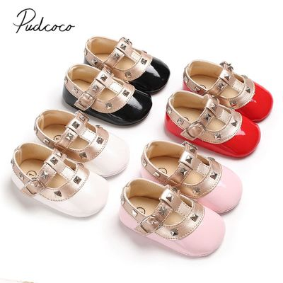 2018 Brand New Newborn Baby Girl Bow Princess Shoes Soft Sole Crib Leather Solid Buckle Strap Flat With Heel Baby Shoes 4 Colors
