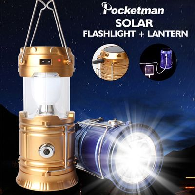 Proable Camping Lamp USB Rechargeable Light Outdoor Tent Light Lantern Solar Power Collapsible Lamp Flashlight Emergency Torch