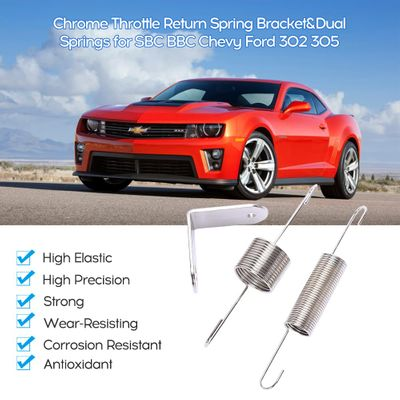 Chrome Plated Throttle Door Return Spring Bracket Dual Springs For Chevy Ford 302 350